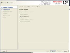 Create Database option
