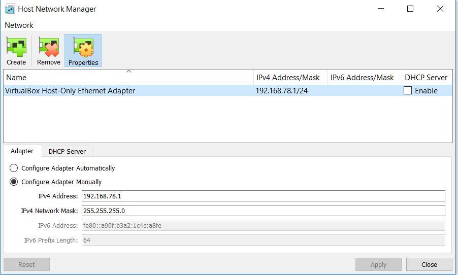 VirtualBox Host Network Manager