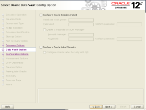 dbca data vault config option