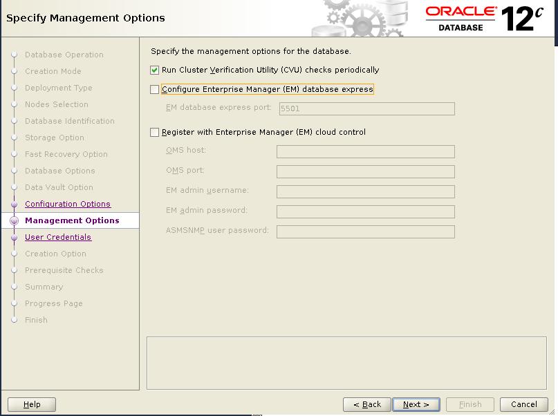 dbca management option