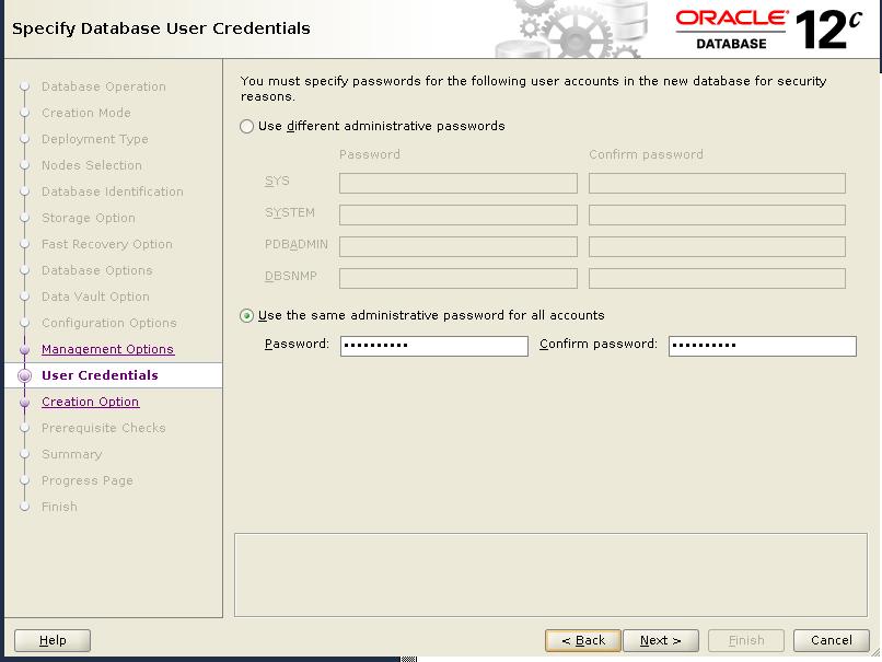 dbca user credentials