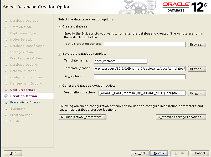 dbca creation option