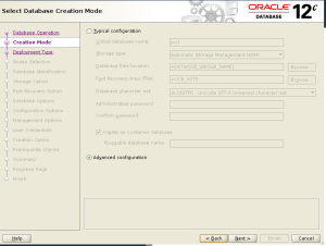 dbca Advanced configuration