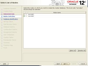 dbca select nodes