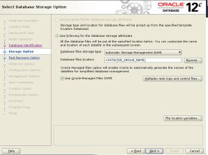 dbca storage option