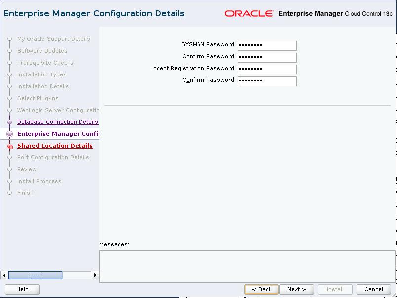 Enterprise Manager Configuration Details