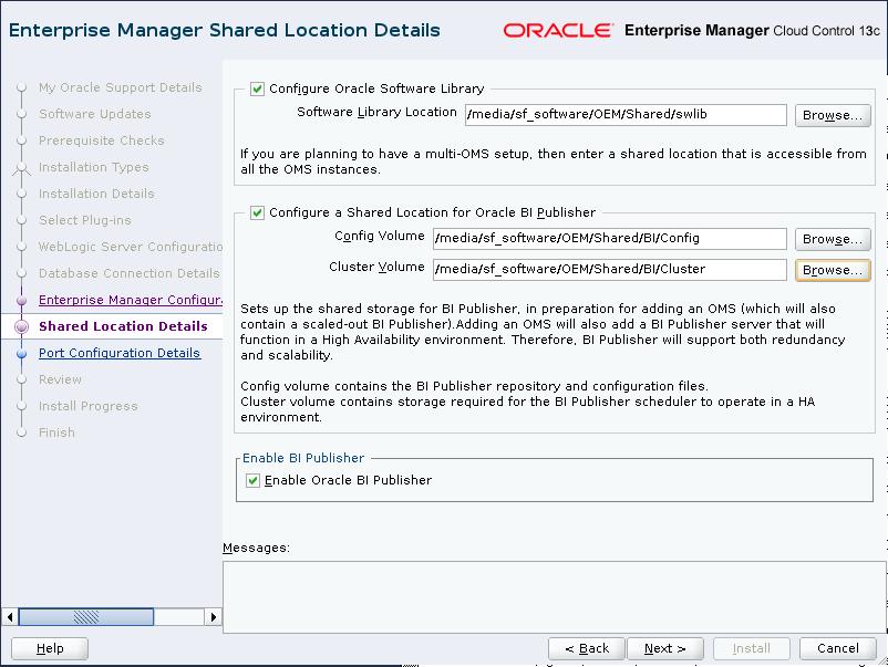 Enterprise Manager Shared Location Details